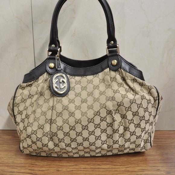 892620f9cbd8 Gucci Bags | Sukey 211944 Canvas Leather Trim Bag | Poshmark